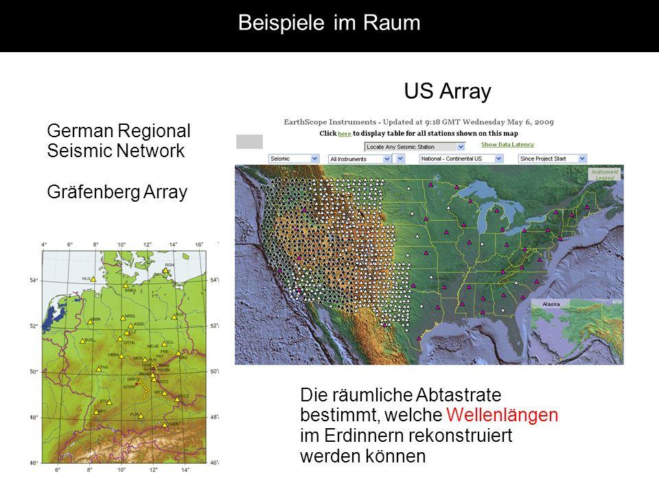 Beispiele im Raum US Array German Regional Seismic Network Gräfenberg Array Die räumliche Abtastrate bestimmt, welche Wellenlängen im Erdinnern rekons