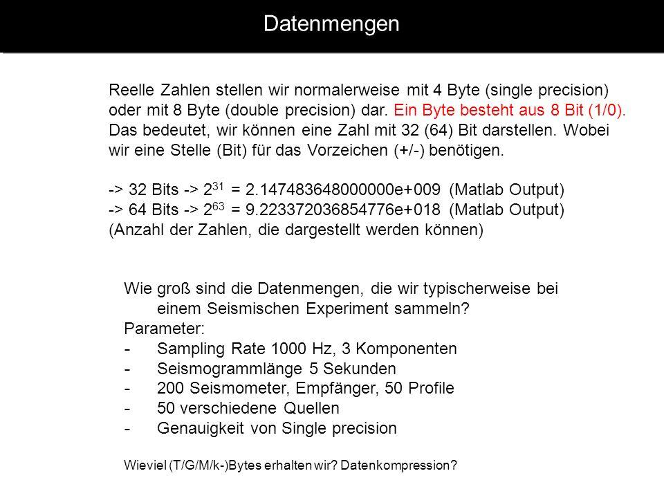 Datenmengen Reelle Zahlen stellen wir normalerweise mit 4 Byte (single precision) oder mit 8 Byte (double precision) dar. Ein Byte besteht aus 8 Bit (