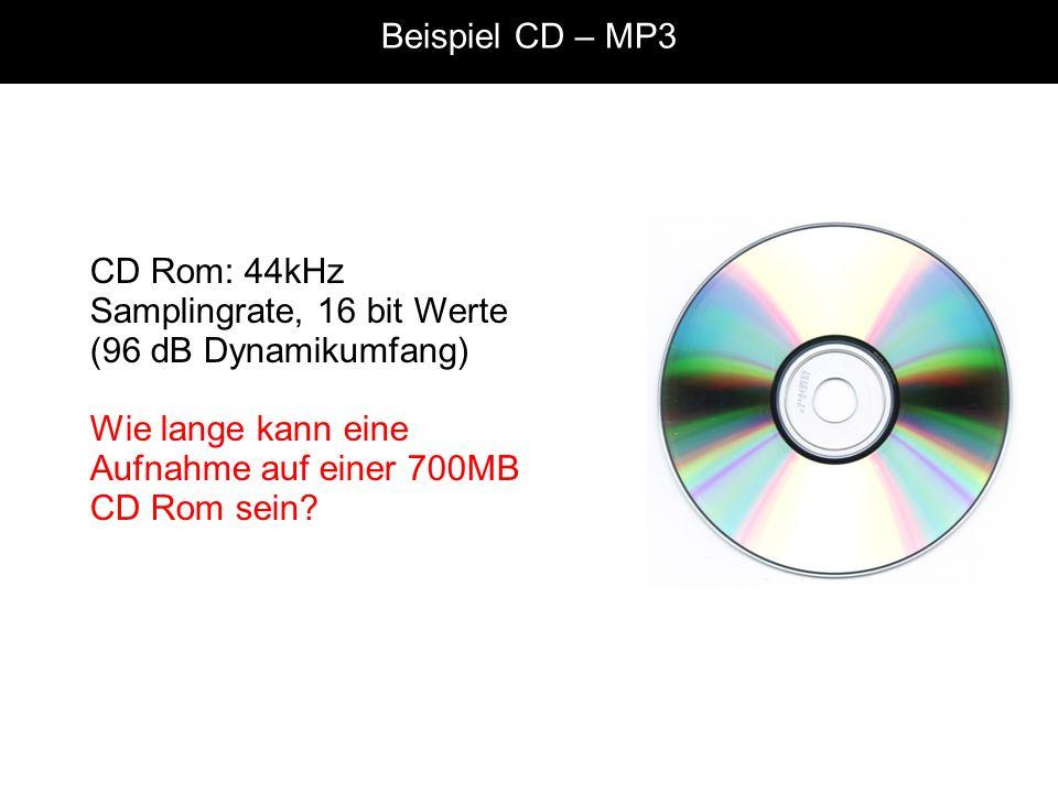 Beispiel CD – MP3 CD Rom: 44kHz Samplingrate, 16 bit Werte (96 dB Dynamikumfang) Wie lange kann eine Aufnahme auf einer 700MB CD Rom sein?