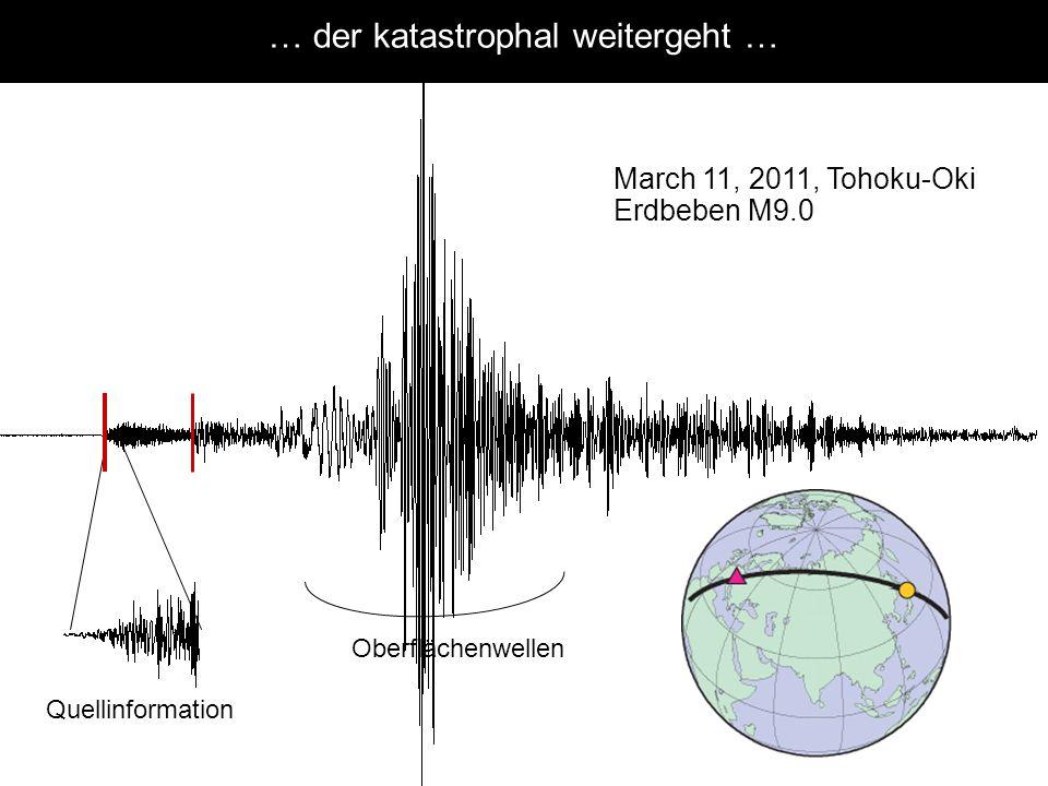 Quellinformation Oberflächenwellen March 11, 2011, Tohoku-Oki Erdbeben M9.0 … der katastrophal weitergeht … Arrival times