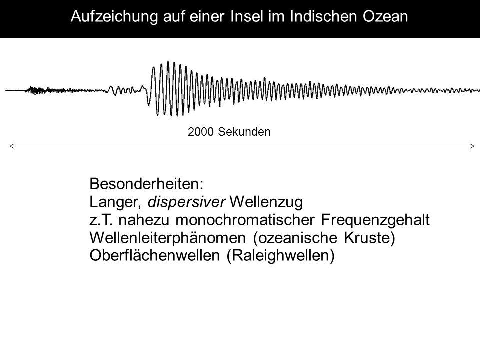 Aufzeichung auf einer Insel im Indischen Ozean Besonderheiten: Langer, dispersiver Wellenzug z.T. nahezu monochromatischer Frequenzgehalt Wellenleiter