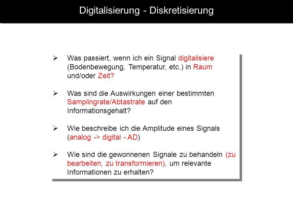 Digitalisierung - Diskretisierung Was passiert, wenn ich ein Signal digitalisiere (Bodenbewegung, Temperatur, etc.) in Raum und/oder Zeit? Was sind di