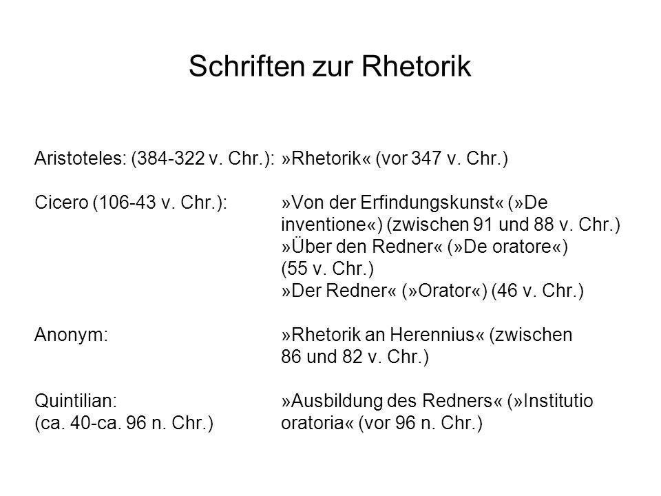 Schriften zur Rhetorik Aristoteles: (384-322 v. Chr.):»Rhetorik« (vor 347 v. Chr.) Cicero (106-43 v. Chr.): »Von der Erfindungskunst« (»De inventione«
