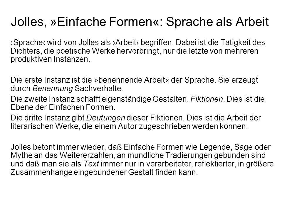 Jolles, »Einfache Formen«: Sprache als Arbeit Sprache wird von Jolles als Arbeit begriffen.