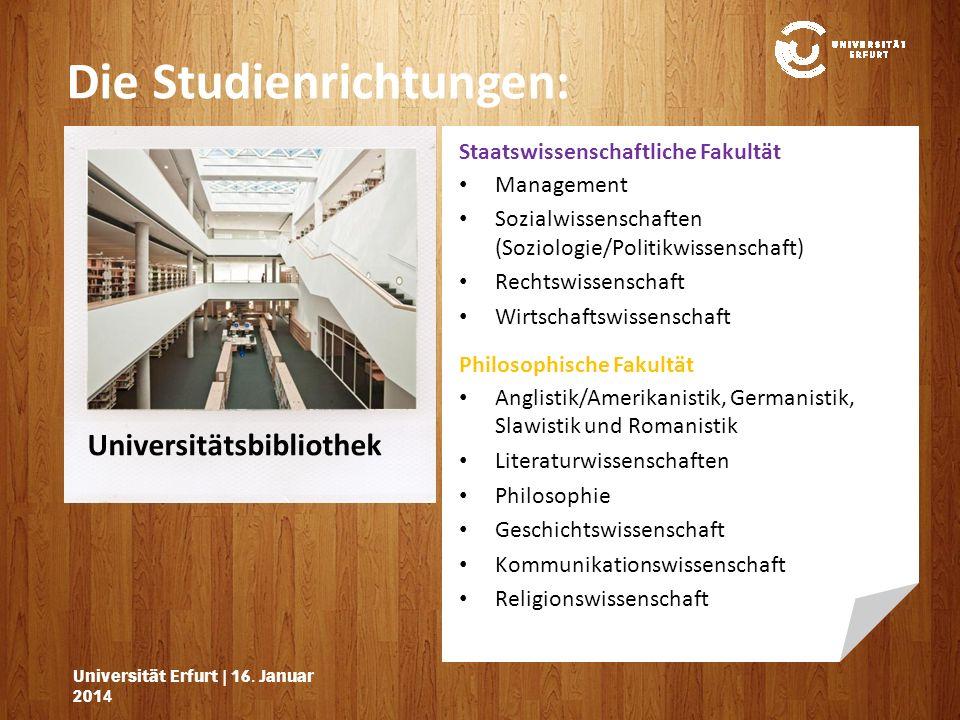 Lehrgebäude Die Studienrichtungen: Universität Erfurt   16.