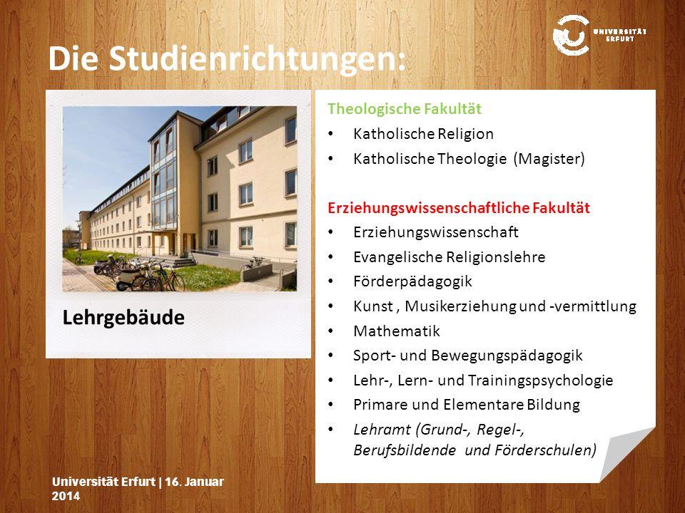 Lehrgebäude Die Studienrichtungen: Universität Erfurt | 16.