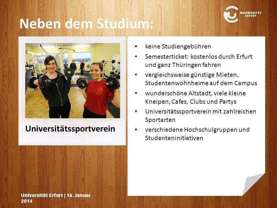 Universitätssportverein Neben dem Studium: Universität Erfurt | 16.