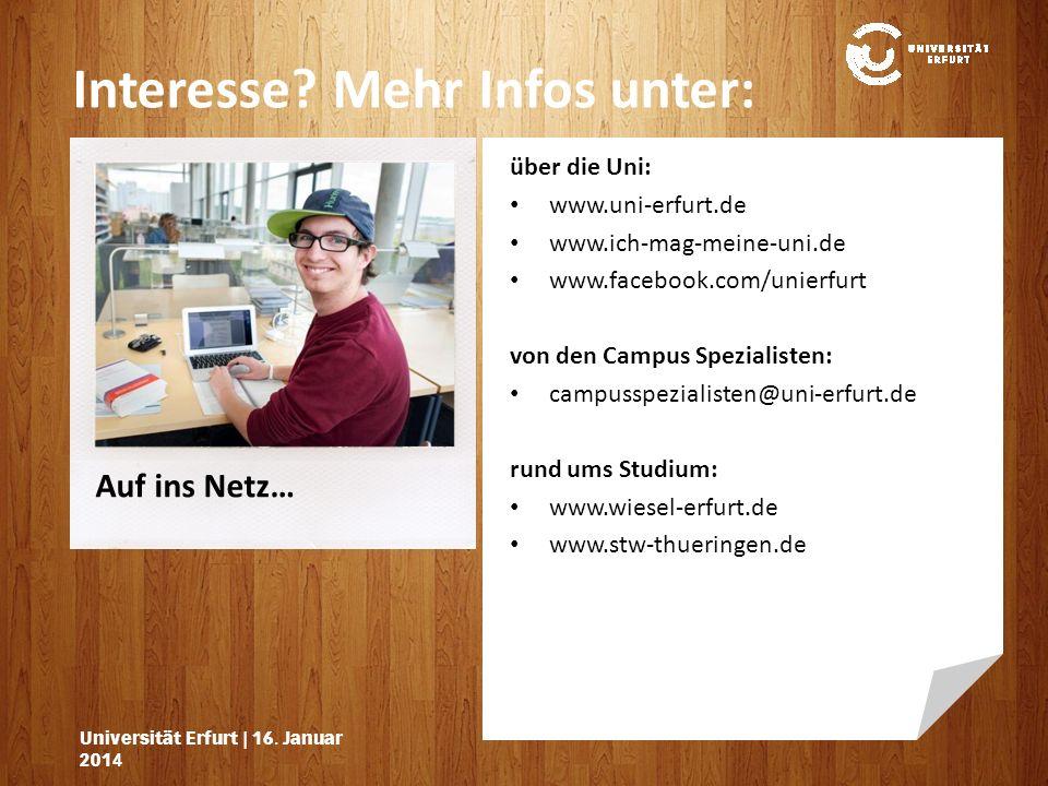 Auf ins Netz… Interesse.Mehr Infos unter: Universität Erfurt | 16.