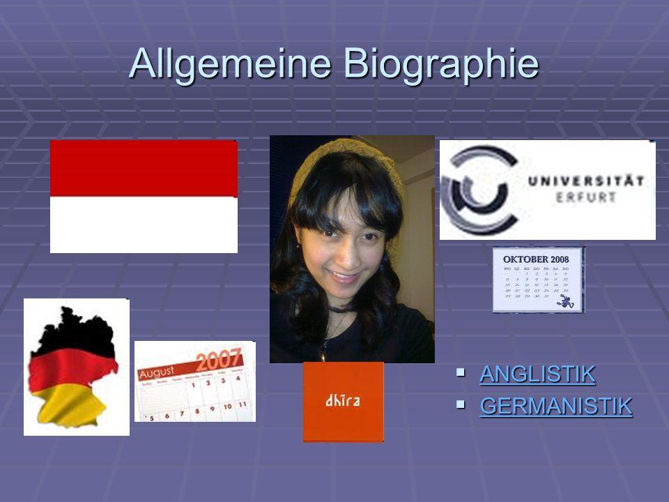 Allgemeine Biographie ANGLISTIK ANGLISTIK ANGLISTIK GERMANISTIK GERMANISTIK GERMANISTIK