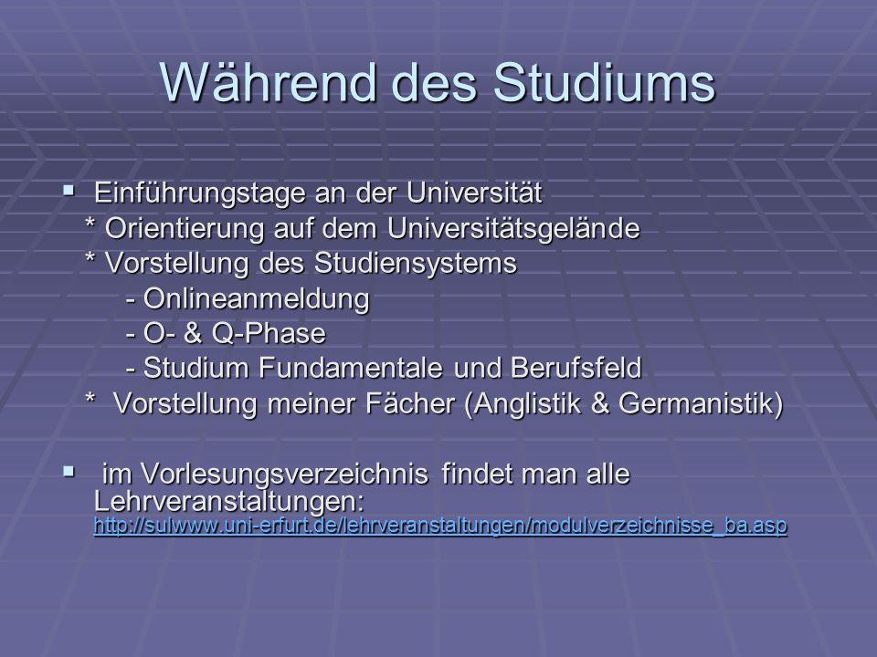 Während des Studiums Mentorensystem individuelle Beratung während des Studiums Mentorensystem individuelle Beratung während des Studiums z.B.: Anglistik: Dr.