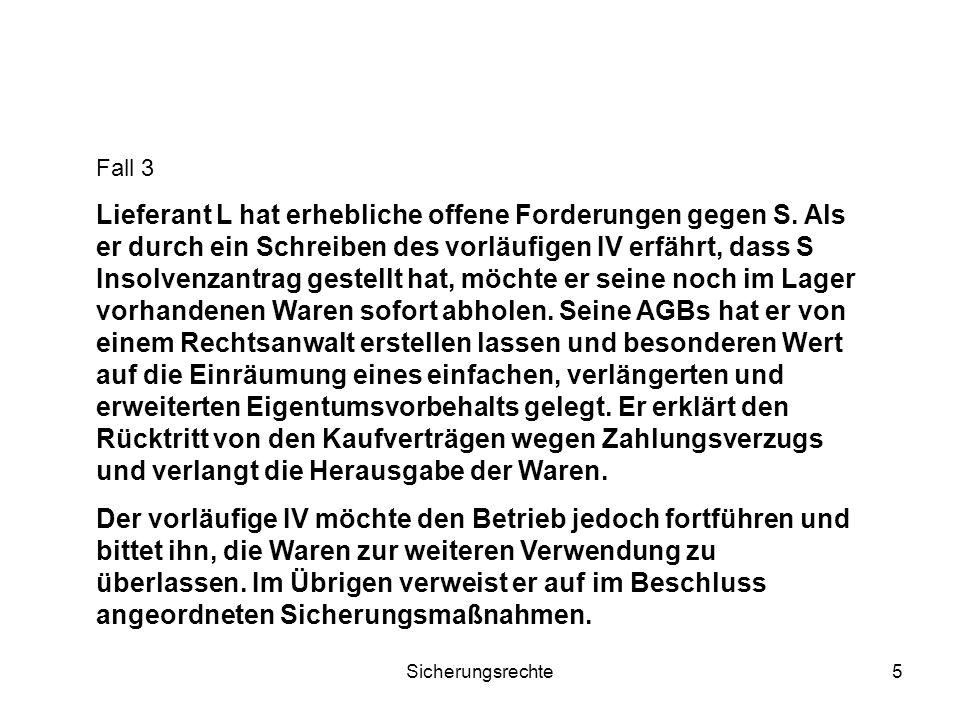 Sicherungsrechte6 Aussonderung – EÖ-Verfahren - Sicherungsmaßnahmen 2.