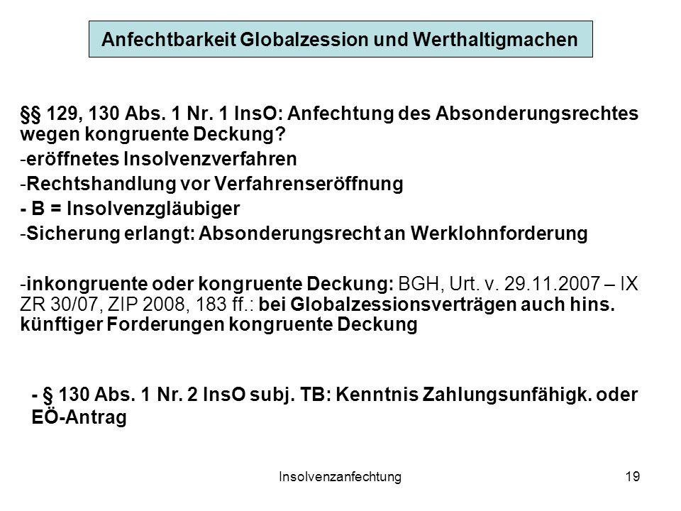 Insolvenzanfechtung19 Anfechtbarkeit Globalzession und Werthaltigmachen §§ 129, 130 Abs. 1 Nr. 1 InsO: Anfechtung des Absonderungsrechtes wegen kongru
