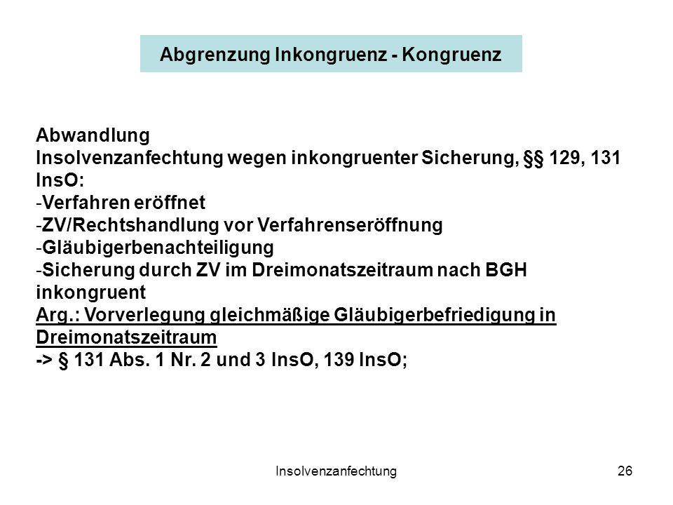 Insolvenzanfechtung26 Abwandlung Insolvenzanfechtung wegen inkongruenter Sicherung, §§ 129, 131 InsO: -Verfahren eröffnet -ZV/Rechtshandlung vor Verfahrenseröffnung -Gläubigerbenachteiligung -Sicherung durch ZV im Dreimonatszeitraum nach BGH inkongruent Arg.: Vorverlegung gleichmäßige Gläubigerbefriedigung in Dreimonatszeitraum -> § 131 Abs.
