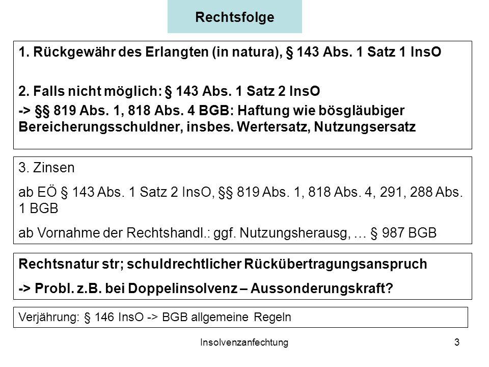 Insolvenzanfechtung3 Rechtsfolge 1.Rückgewähr des Erlangten (in natura), § 143 Abs.