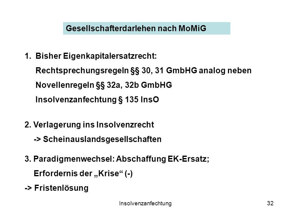 Insolvenzanfechtung32 Gesellschafterdarlehen nach MoMiG 1.Bisher Eigenkapitalersatzrecht: Rechtsprechungsregeln §§ 30, 31 GmbHG analog neben Novellenregeln §§ 32a, 32b GmbHG Insolvenzanfechtung § 135 InsO 2.