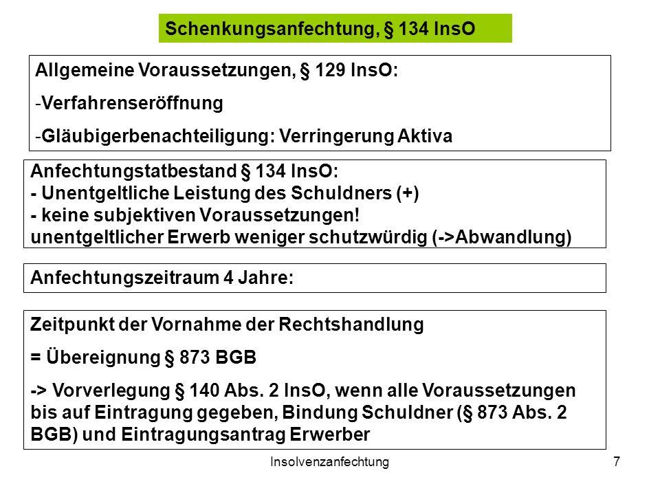 Insolvenzanfechtung7 Anfechtungstatbestand § 134 InsO: - Unentgeltliche Leistung des Schuldners (+) - keine subjektiven Voraussetzungen! unentgeltlich