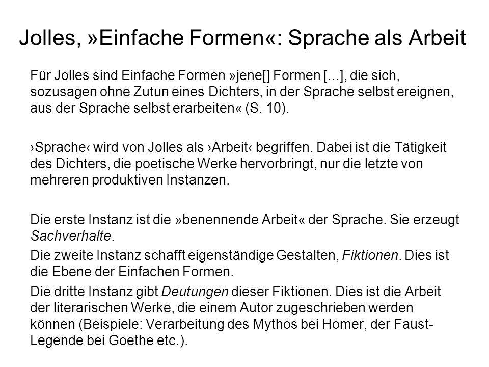 Jolles, »Einfache Formen«: Sprache als Arbeit Für Jolles sind Einfache Formen »jene[] Formen [...], die sich, sozusagen ohne Zutun eines Dichters, in