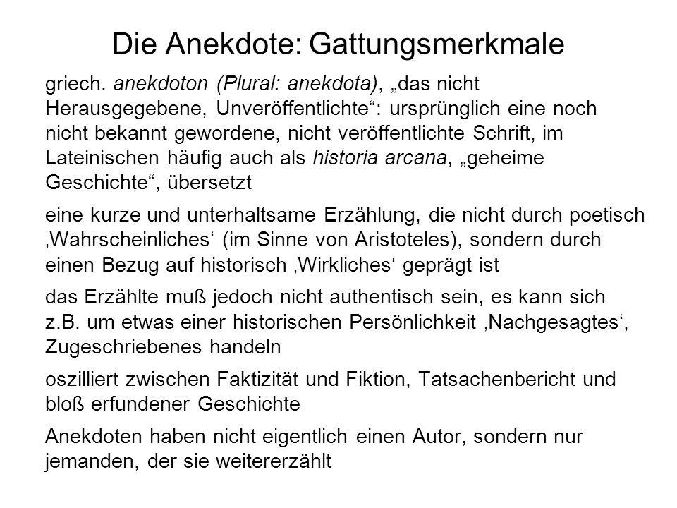 Hintergründe von Kleists Anekdote »Der Griffel Gottes« Die Anekdote wurde zuerst in den Berliner Abendblättern, einer von Kleist herausgegebenen Tageszeitung, veröffentlicht (5.10.1810), und zwar ohne Verfassernamen.