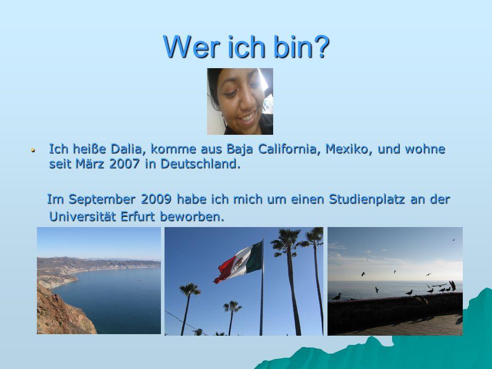 Wer ich bin? Ich heiße Dalia, komme aus Baja California, Mexiko, und wohne seit März 2007 in Deutschland. Ich heiße Dalia, komme aus Baja California,