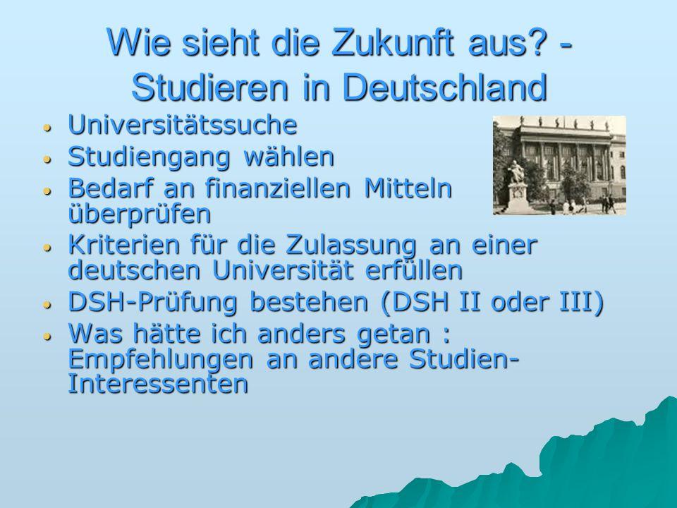 Wie sieht die Zukunft aus? - Studieren in Deutschland Universitätssuche Universitätssuche Studiengang wählen Studiengang wählen Bedarf an finanziellen