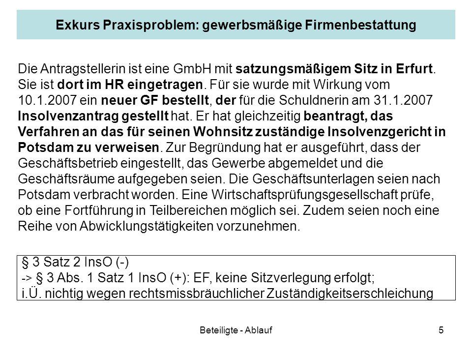 Beteiligte - Ablauf5 Exkurs Praxisproblem: gewerbsmäßige Firmenbestattung Die Antragstellerin ist eine GmbH mit satzungsmäßigem Sitz in Erfurt. Sie is