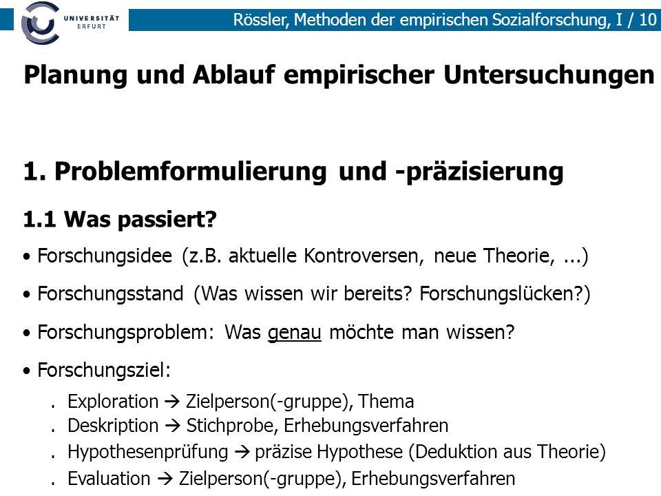 Rössler, Methoden der empirischen Sozialforschung, I / 10 1. Problemformulierung und -präzisierung 1.1 Was passiert? Forschungsidee (z.B. aktuelle Kon