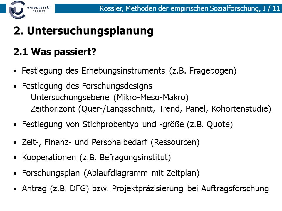 Rössler, Methoden der empirischen Sozialforschung, I / 11 Festlegung des Erhebungsinstruments (z.B. Fragebogen) Festlegung des Forschungsdesigns Unter