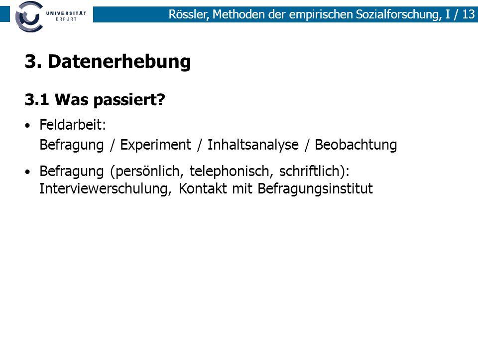 Rössler, Methoden der empirischen Sozialforschung, I / 13 3. Datenerhebung 3.1 Was passiert? Feldarbeit: Befragung / Experiment / Inhaltsanalyse / Beo