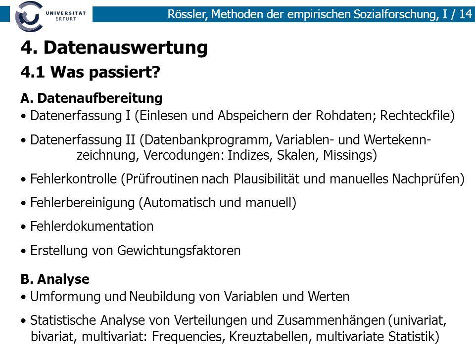 Rössler, Methoden der empirischen Sozialforschung, I / 14 4. Datenauswertung 4.1 Was passiert? A. Datenaufbereitung Datenerfassung I (Einlesen und Abs