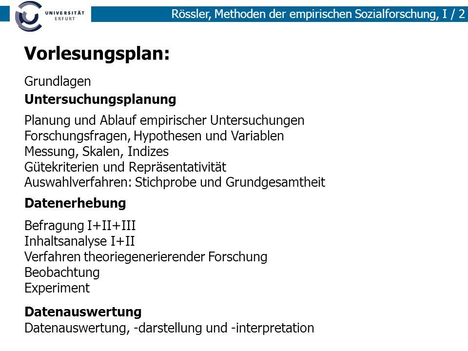 Rössler, Methoden der empirischen Sozialforschung, I / 2 Vorlesungsplan: Grundlagen Untersuchungsplanung Datenerhebung Datenauswertung Planung und Abl