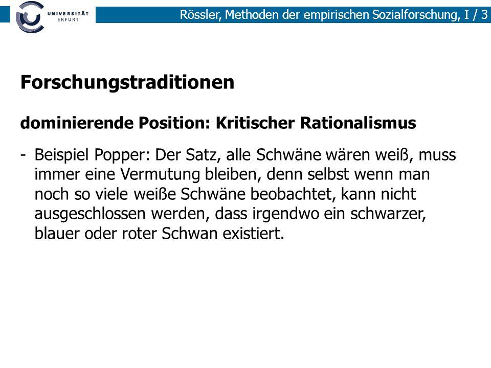 Rössler, Methoden der empirischen Sozialforschung, I / 3 Forschungstraditionen dominierende Position: Kritischer Rationalismus -Beispiel Popper: Der S
