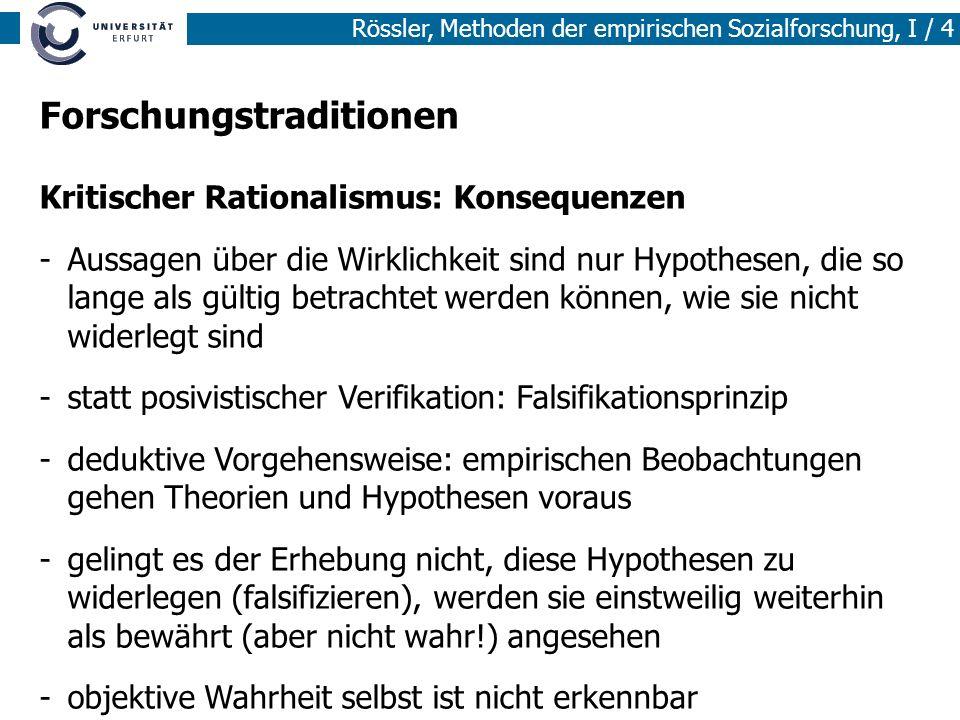 Rössler, Methoden der empirischen Sozialforschung, I / 4 Forschungstraditionen Kritischer Rationalismus: Konsequenzen -Aussagen über die Wirklichkeit