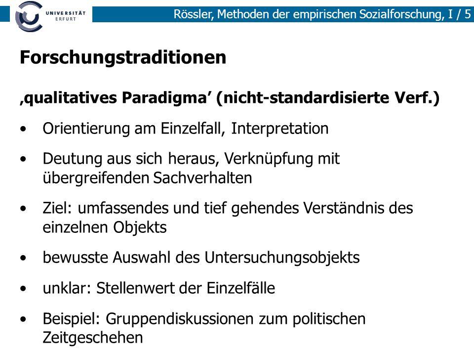 Rössler, Methoden der empirischen Sozialforschung, I / 5 Forschungstraditionen qualitatives Paradigma (nicht-standardisierte Verf.) Orientierung am Ei