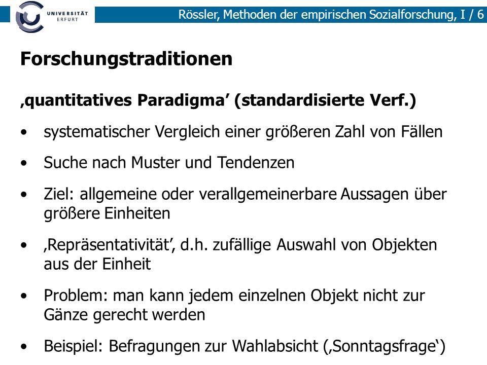 Rössler, Methoden der empirischen Sozialforschung, I / 6 Forschungstraditionen quantitatives Paradigma (standardisierte Verf.) systematischer Vergleic