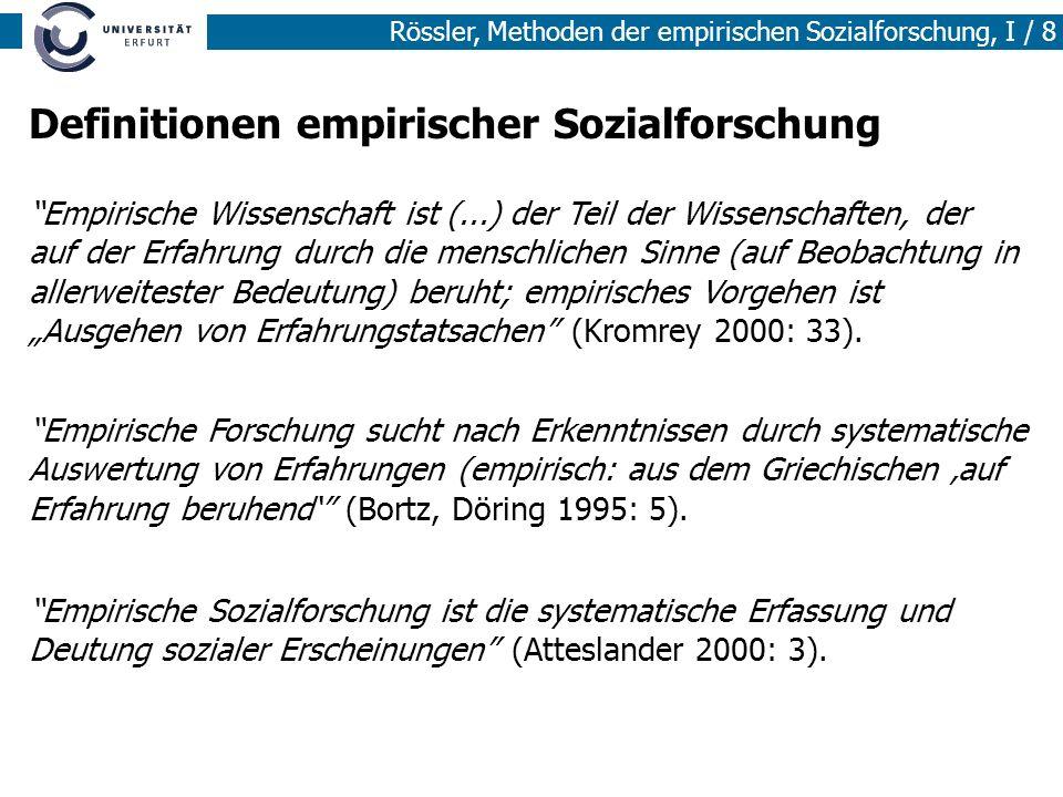 Rössler, Methoden der empirischen Sozialforschung, I / 8 Definitionen empirischer Sozialforschung Empirische Wissenschaft ist (...) der Teil der Wisse