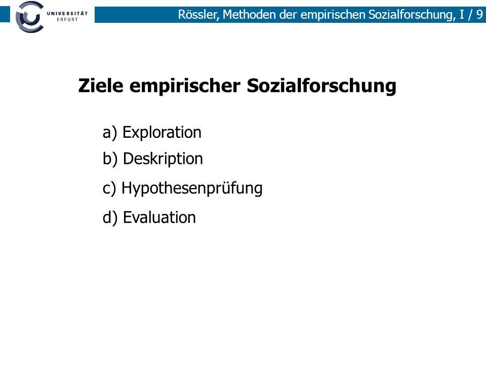 Rössler, Methoden der empirischen Sozialforschung, I / 9 Ziele empirischer Sozialforschung a) Exploration b) Deskription c) Hypothesenprüfung d) Evalu
