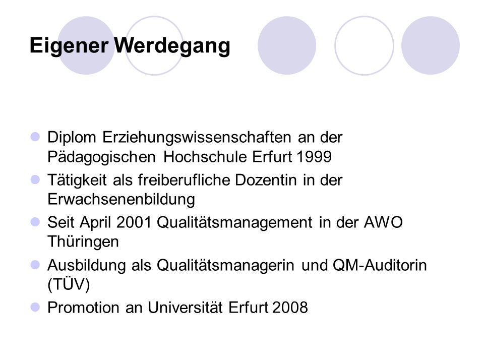 Eigener Werdegang Diplom Erziehungswissenschaften an der Pädagogischen Hochschule Erfurt 1999 Tätigkeit als freiberufliche Dozentin in der Erwachsenenbildung Seit April 2001 Qualitätsmanagement in der AWO Thüringen Ausbildung als Qualitätsmanagerin und QM-Auditorin (TÜV) Promotion an Universität Erfurt 2008