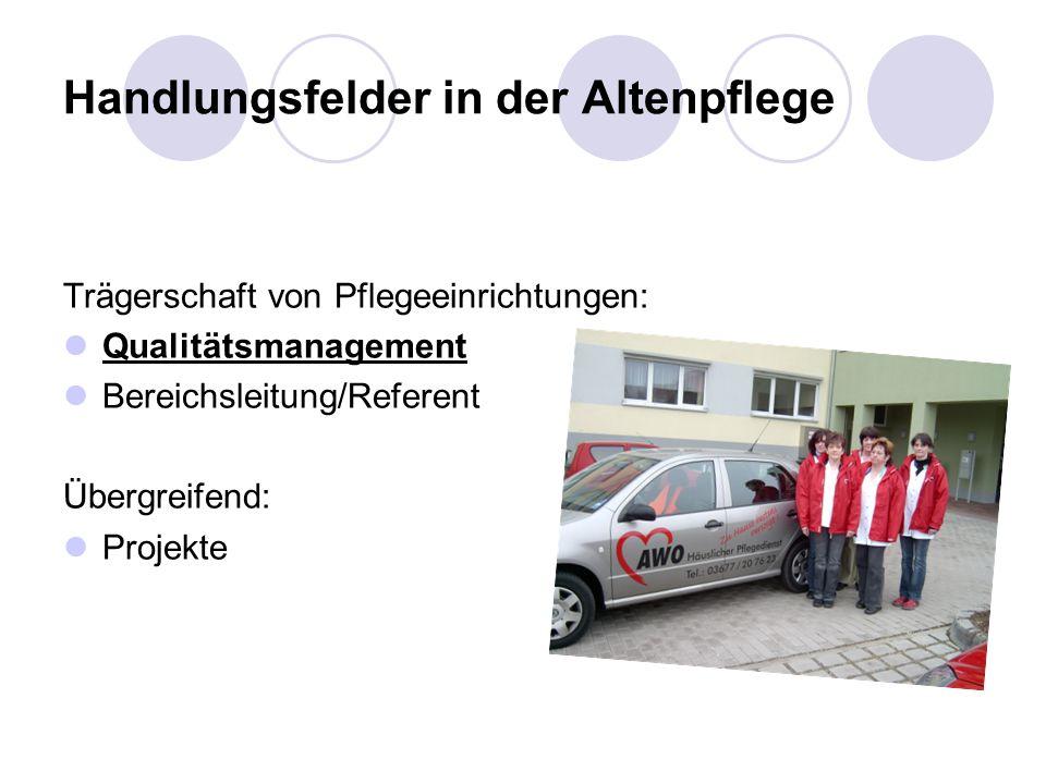 Handlungsfelder in der Altenpflege Trägerschaft von Pflegeeinrichtungen: Qualitätsmanagement Bereichsleitung/Referent Übergreifend: Projekte