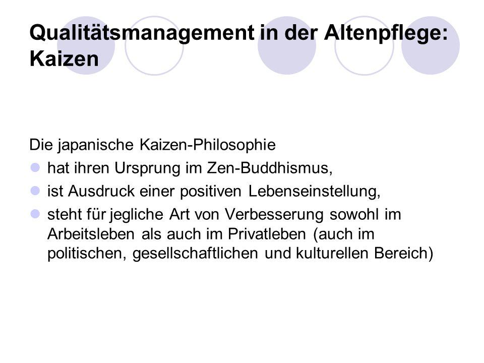 Qualitätsmanagement in der Altenpflege: Kaizen Die japanische Kaizen-Philosophie hat ihren Ursprung im Zen-Buddhismus, ist Ausdruck einer positiven Lebenseinstellung, steht für jegliche Art von Verbesserung sowohl im Arbeitsleben als auch im Privatleben (auch im politischen, gesellschaftlichen und kulturellen Bereich)