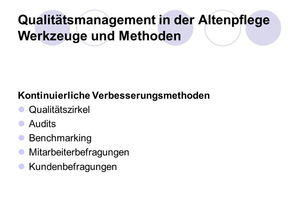 Qualitätsmanagement in der Altenpflege Werkzeuge und Methoden Kontinuierliche Verbesserungsmethoden Qualitätszirkel Audits Benchmarking Mitarbeiterbef