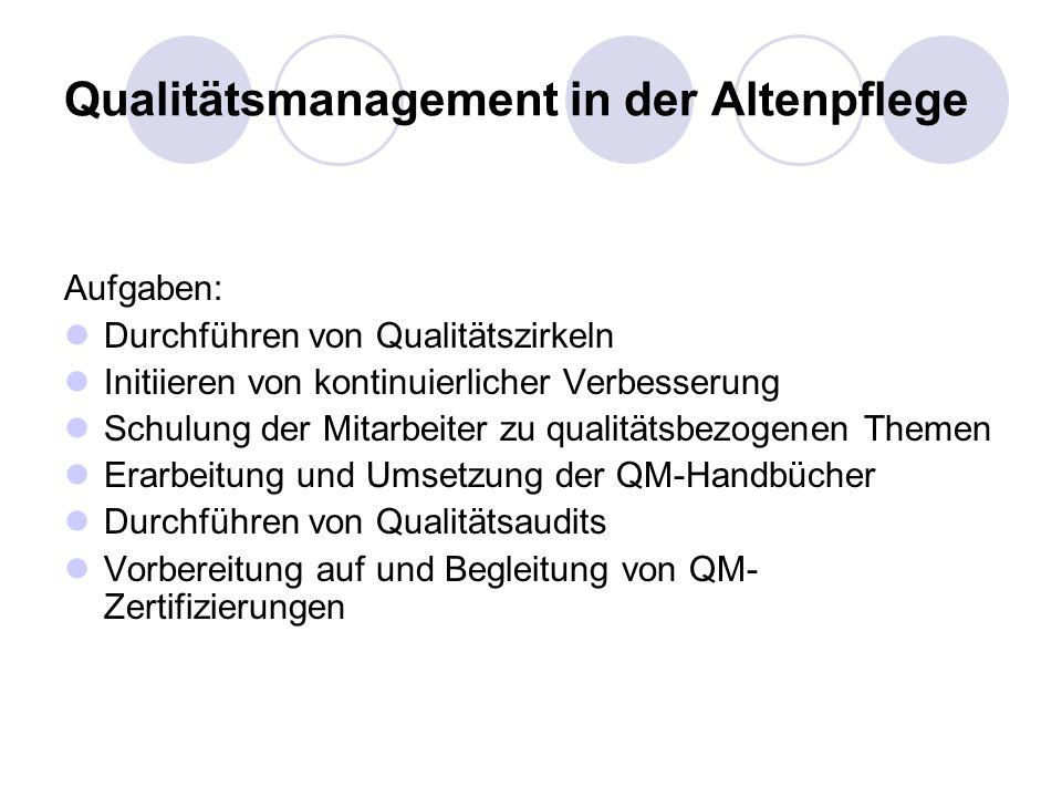 Qualitätsmanagement in der Altenpflege Aufgaben: Durchführen von Qualitätszirkeln Initiieren von kontinuierlicher Verbesserung Schulung der Mitarbeiter zu qualitätsbezogenen Themen Erarbeitung und Umsetzung der QM-Handbücher Durchführen von Qualitätsaudits Vorbereitung auf und Begleitung von QM- Zertifizierungen