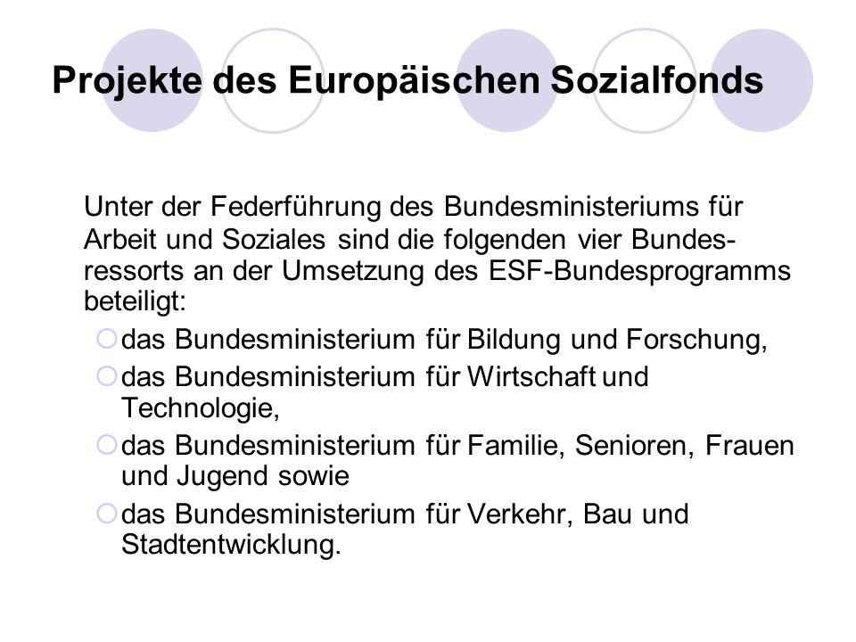 Projekte des Europäischen Sozialfonds Unter der Federführung des Bundesministeriums für Arbeit und Soziales sind die folgenden vier Bundes- ressorts a