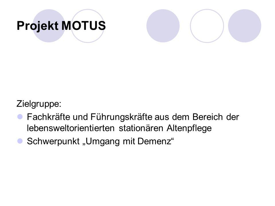 Projekt MOTUS Zielgruppe: Fachkräfte und Führungskräfte aus dem Bereich der lebensweltorientierten stationären Altenpflege Schwerpunkt Umgang mit Demenz