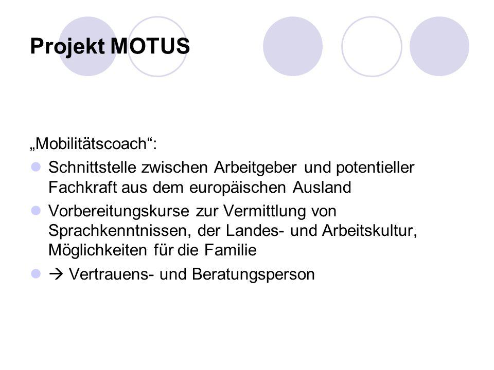 Projekt MOTUS Mobilitätscoach: Schnittstelle zwischen Arbeitgeber und potentieller Fachkraft aus dem europäischen Ausland Vorbereitungskurse zur Vermittlung von Sprachkenntnissen, der Landes- und Arbeitskultur, Möglichkeiten für die Familie Vertrauens- und Beratungsperson