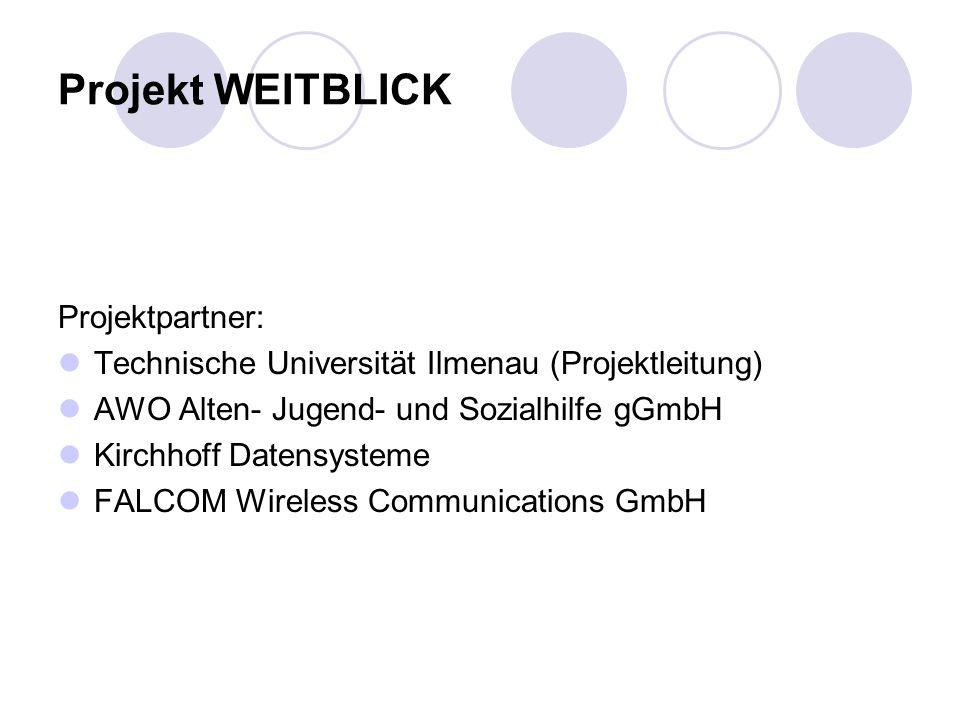 Projekt WEITBLICK Projektpartner: Technische Universität Ilmenau (Projektleitung) AWO Alten- Jugend- und Sozialhilfe gGmbH Kirchhoff Datensysteme FALCOM Wireless Communications GmbH