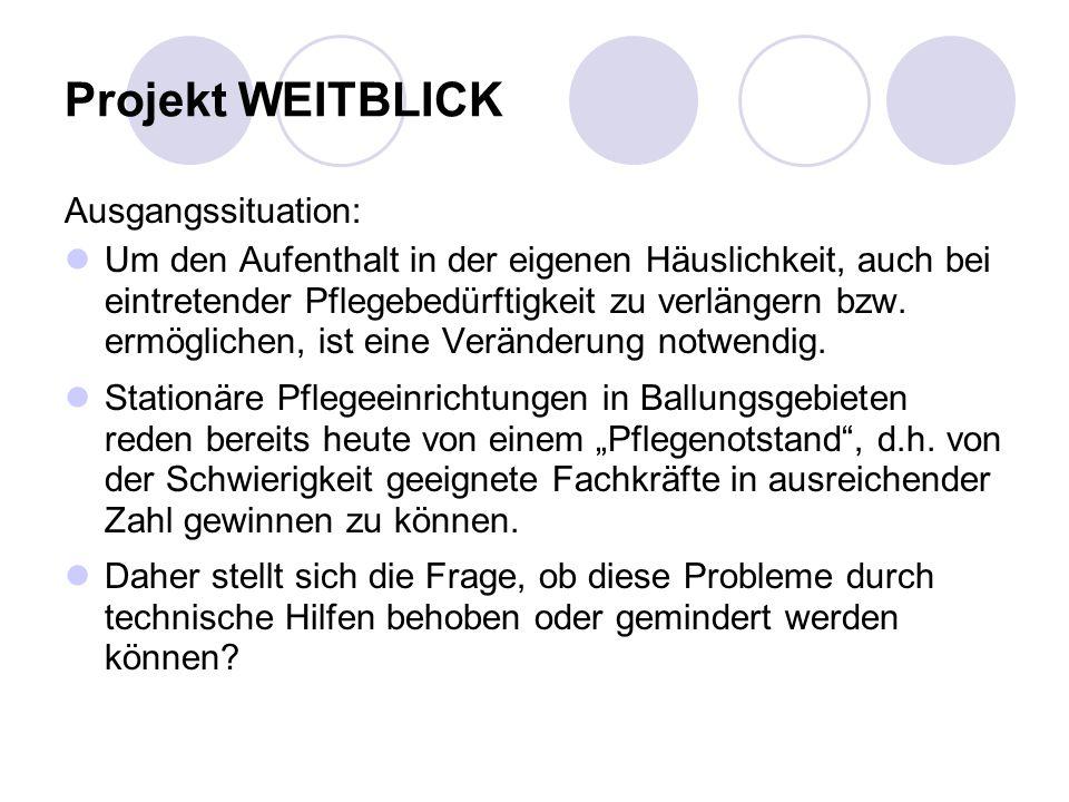 Projekt WEITBLICK Ausgangssituation: Um den Aufenthalt in der eigenen Häuslichkeit, auch bei eintretender Pflegebedürftigkeit zu verlängern bzw.