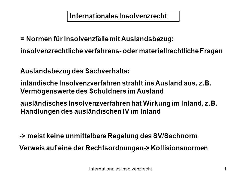 Internationales Insolvenzrecht1 = Normen für Insolvenzfälle mit Auslandsbezug: insolvenzrechtliche verfahrens- oder materiellrechtliche Fragen Ausland