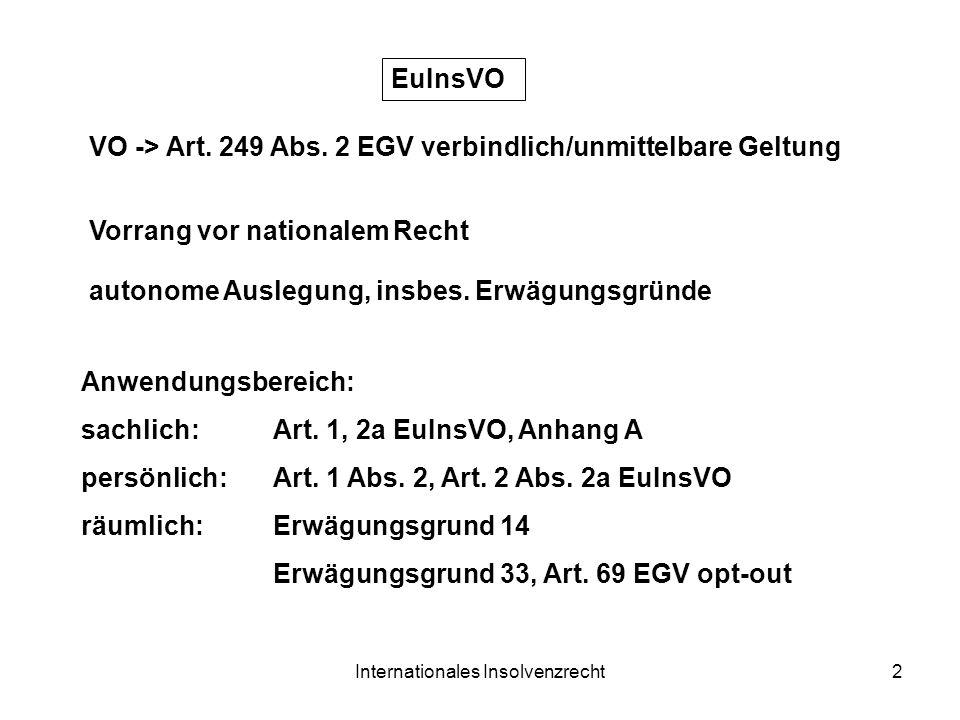 Internationales Insolvenzrecht2 EuInsVO VO -> Art. 249 Abs. 2 EGV verbindlich/unmittelbare Geltung Anwendungsbereich: sachlich:Art. 1, 2a EuInsVO, Anh