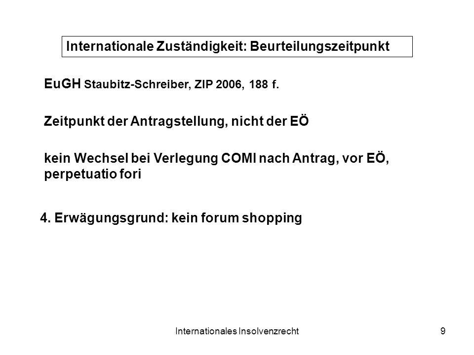 Internationales Insolvenzrecht9 Internationale Zuständigkeit: Beurteilungszeitpunkt Zeitpunkt der Antragstellung, nicht der EÖ 4. Erwägungsgrund: kein