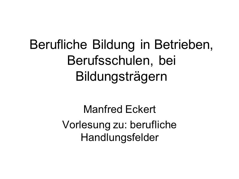 Berufliche Bildung in Betrieben, Berufsschulen, bei Bildungsträgern Manfred Eckert Vorlesung zu: berufliche Handlungsfelder